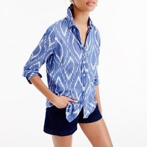 J. Crew Perfect Shirt Sunfaded Ikat Blue White